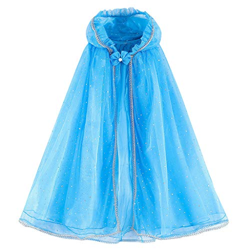 56 Kapuze Kostüm Umhang - INLLADDY Umhang Mädchen Pailletten mit Kapuze Umhang Performance Kleidung Festival Party Cosplay Kostüm Kleidung Blau 140