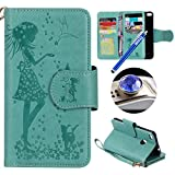 Huawei P8 Lite 2017 Leather Case,Huawei P8 Lite 2017 Wallet Case,Etsue[9 Card Slots]Pressed Girl Flower Cat Bird Pattern Retro Bookstyle Flip Case Cover with Strap Leather Wallet Case for Huawei P8 Lite 2017+Blue Stylus Pen+Bling Glitter Diamond Dust Plug(Colors Random)-Girl Cat,Green