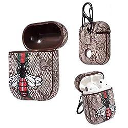 Lybenny Airpods 1/2 Case Schlüsselbund, Mode Leder AirPod Lade Schutzhülle für Airpods Kopfhörer Zubehör Großes Geschenk (Grau-Biene)