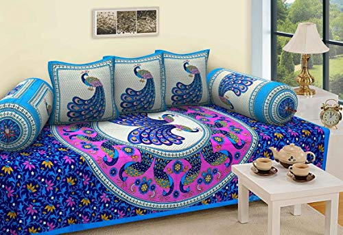 Click & Shop Jaipuri Diwan bedsheet with 2 Bloster Cover and 3 Cushion Cover - (Multi Color)