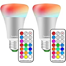 (2 Pack)RGBW 10W E27 Led Colores Cambiantes Lámpara,Sunpion® Bombilla Bulbo LED AC 85-265V, LED Lmpara Bombilla 12 Colores Mando a Distancia Led RGB Light Bulb (2 Pcs)