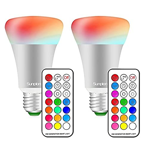 LED RGBW Lampen, Sunpion®10W Dimmbar Glühbirne 12 Farben zur Wahl, inklusive Fernbedienung, Farbwechsel Lampen, LED Birnen, LED Leuchtmittel (E27 2