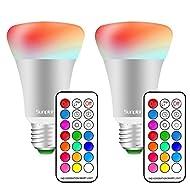 (2 Pack)10W E27 RGBW Ampoule LED, Sunpion® Projecteur de Rotation Lampe de Table LED Couleurs Changement LED Bulb, Lampe d'ambiance, Lampe de Scène, Veilleuse de Nuit Romantique, avec Télécommande