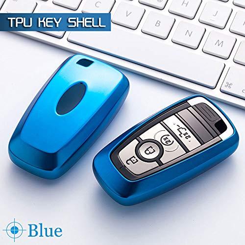 SUNQQB Für Bunte autoschlüssel Schutz case Auto smart schlüsselanhänger Abdeckung Shell Set Tasche für Ford Mondeo 2017 Focus Edge kuga eco Sport,A,Blue (Edge Ford Schlüsselanhänger)