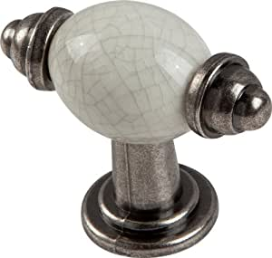 Headbourne Ha0798B Schubladengriff, Zinn mit Keramikeinsatz, 50 mm, Weiß