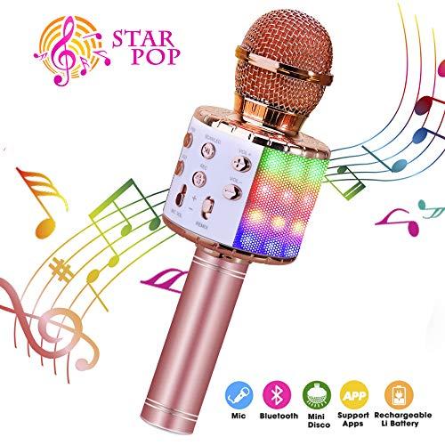 ShinePick Micrófono Karaoke Bluetooth, 4 en1...