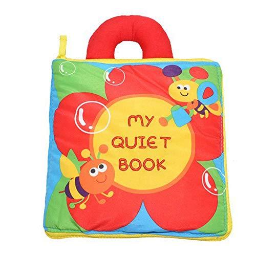 AOLVO Stoffbuch für Baby-Puzzle, Stoffbuch, Kleinkinder, Aktivität, leises Buch, Montessori Lernbuch für Kleinkinder, multifunktionales dreidimensionales Lernspielzeug zur Erkennung von Zahlen rot