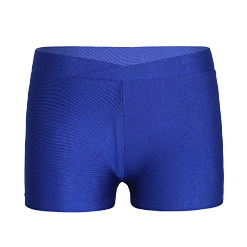 dPois Mädchen Sporthose Kurze Hose Sport Short Kleinkind Fitnesshose Trainingshose Hotpants Sport Hose Panties Hipster Tanzhose Girls Leggings Sportswear Gr.92-152 Blau 122-128/7-8 Jahre