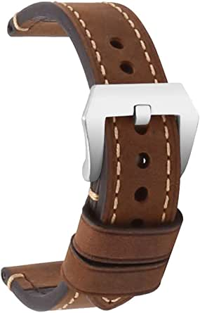 omyzam Cinturino per orologio da uomo in pelle Retro Strap Panerai Watch 20mm22mm 24mm adatto accessori per high-end tradizionali o cinturino sportivo Smart Fashion Cinturino in argento marrone