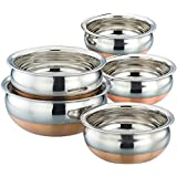 "Nageshwar Cookware Combo - Serving HANDI 5 Pcs. Set - Round Bottom - 550ml, 750ml, 1250ml, 1900ml, 2500ml. ""Premium Quality - Stainless Steel - EXPORT QUALITY Copper Bottom."