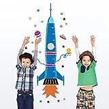 Pegatina Pared Vinilo Decorativo Adhesivo Decoración Infantil Para Hogar Dormitorio Habitación Armario Puerta De Niño Niña Creativo Cohete Azul
