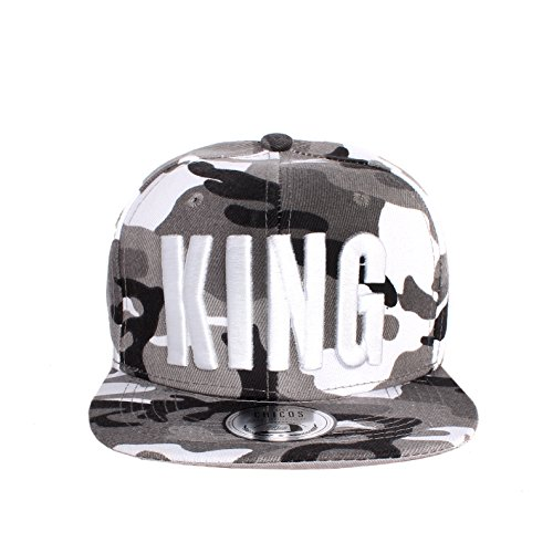 Johnny Chicos UNISEX Herren Damen Cap KING QUEEN MUSIC TIGER ADLER NY Verstellbar Flexfit Snapback (One size, King Camouflage Grau)