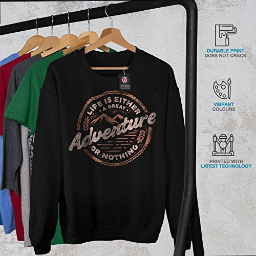 Inspiration Citation Aventure Femme S-2XL Sweat-shirt | Wellcoda Noir