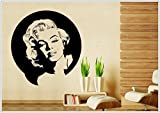 Wandtattoo wandaufkleber wandsticker photo Porträt Marilyn Monroe wph005(Printed Sticker,ca.15 x 6cm)