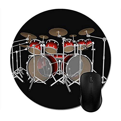 Computer Matte,Runde Mousepads 10 Stück Drum Kit: Rot Set: Drums Mouse Mat -
