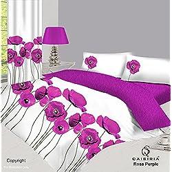 Rosa–Juego de cama de 8 piezas–funda de edredón, sábana bajera ajustable, fundas de almohada, cortinas y alzapaños, Rosa Purple, matrimonio