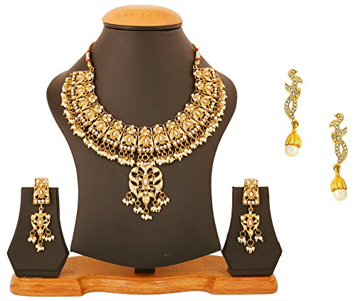 Touchstone Indian Bollywood faux pearls/crystals jewelry necklace/smart earrings combo in gold tone for women