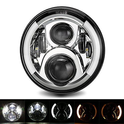 7inch Runde 50W 6500K Cree LED Scheinwerfer Kit Hi/Lo Beam Motorrad Fahrlicht mit DRL Blinker Halo Ring Angle Eyes für Harley Davidsion (Scheinwerfer Motorrad Led Kit)