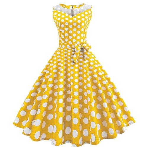 Heiß! Damen Retro Kleid Hevoiok Frauen Vintage Punkt Drucken Kleid Bodycon Mesh Patchwork Abendkleid Cocktailkleid Casual Prom Swing Party Kleid (Gelb, M)