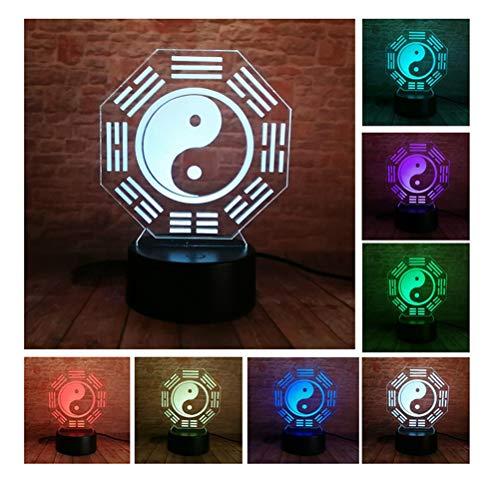 FU_YING Nachtlichter & Schlummerleuchten Chinesische Vorhersage Feng Shui Taiji Bagua Lampe Yin Yang Tai Chi Nachtlicht Home Office Tisch Deco Lampe Nachtlicht Freund Geschenke