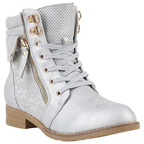 Damen Stiefeletten Schnürstiefeletten Worker Boots Zipper Schuhe 142056 Silber Autol 41 Flandell
