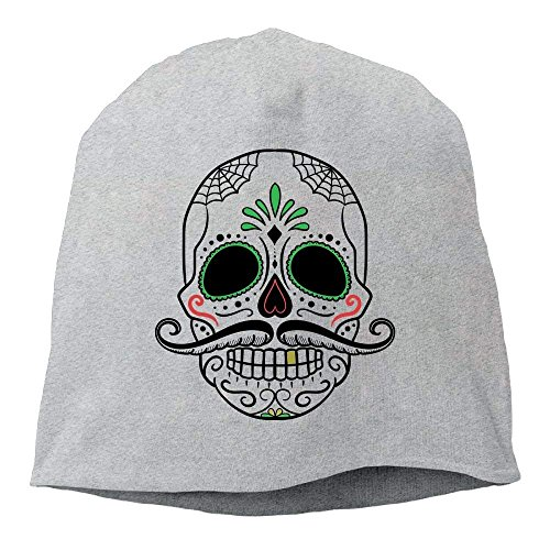 Mexico Flower Sugar Skull Day of Dead Unisex Casual Fashion Durable Winter Warm Knit Skull Cap Hat