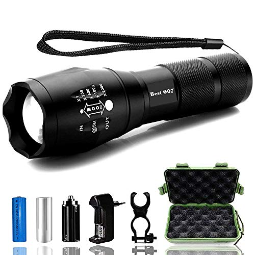 Aukelly LED Torcia Potente, Torcie LED Ricaricabile,Torce a LED,Torcia Ricaricabile,Tattico Torcia Wasserdicht,Torcia LED Militare 1000 Lumen,Ricaricabile Torcia LED USB,Für Camping,Con 18650 Batteria
