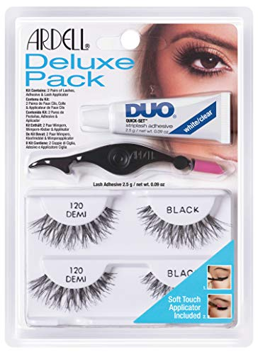 Ardell Deluxe Pack 120, 2 x Paar Echthaarwimpern mit Duo Wimpernkleber und Easy Applikator zum Anbringen der künstlichen Wimpern, das Original für perfekte Lashes, 26g (1x)