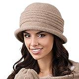 Kamea Salerno Dame Hut Kopfbedeckung Winter Herbst, Dunkelbeige,Uni