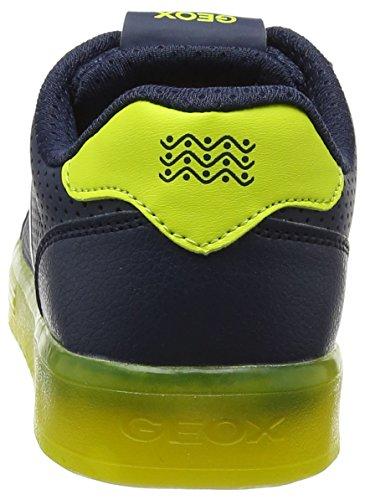 Geox J Kommodor B, Scarpe da Ginnastica Basse Bambino Blu (Navy/lime)