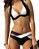Elegant Maillot de Bain Deux Pieces Bandage Push Up Bikini Set en Spandex et Nylon Couleur Noir et Blanc pour Femme Koobea