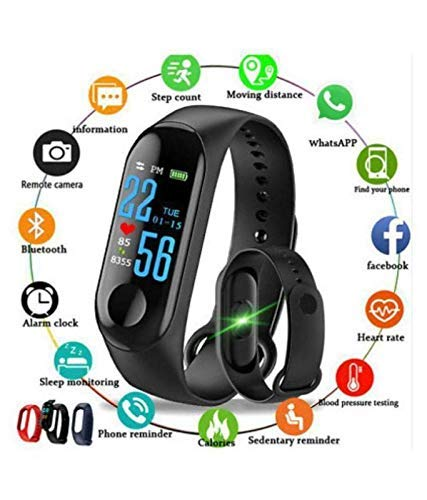 PANAK FASHION M3 Intelligence Bluetooth Health Wrist Smart Band Watch Monitor/Smart Bracelet/Activity Tracker/Smart Fitness Band Compatible for All Androids and iOS Phone/Tablet (Black)