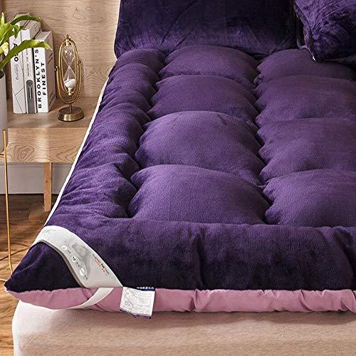 LoveLife Tatami Pillowtop Matratze Topper,plüsch-gefühl Feather Velvet Atmungsaktive Student King Size Schlafsaal Sleeping Mat Klappbare Matratze Matratze Schlafen-lilaa 150x200cm(59x79inch) -