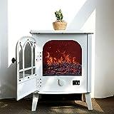 Portátil Chimenea Electrica 1800W con Puerta Abatible/Realista Calefactor Eléctrico con 3D Efecto Chimenea De Fuego Real Decoraciones De Interior,White