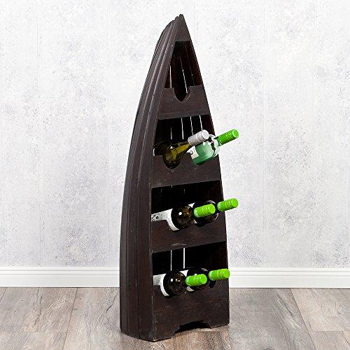 LEBENSwohnART Bootsregal Vino-M Dark-Brown Dekoregal Boot Regal Weinregal 100cm Shabby Wein