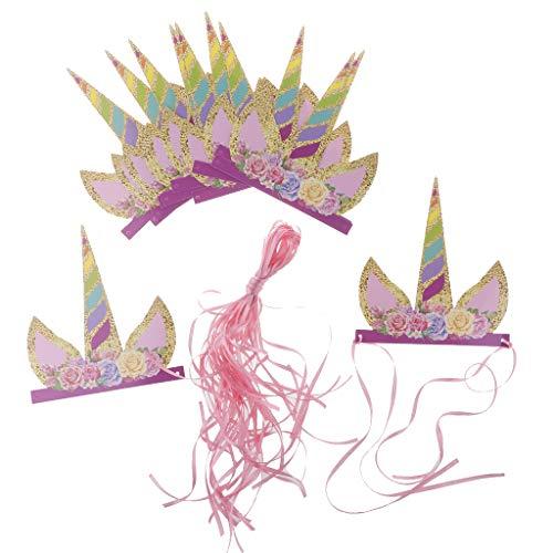 P Prettyia 12pcs DIY Krone Tiara Haarband Haarreif Stirnband mit Einhorn Design für Kindergeburtstag und Taufe