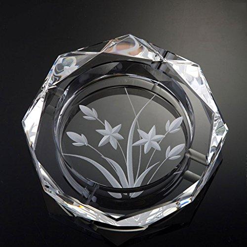 Cenicero LITING-Wang Tallado en Vidrio Cristal Transparente narcisos en casa Sala de Estar (Tamaño : B)
