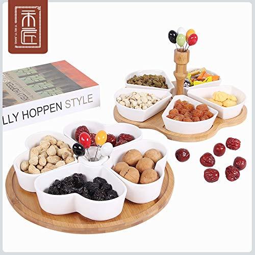XLCLSA asda Boîte de Fruits séchés créative divisée en Assiette de Fruits avec Couvercle boîte de Rangement Multi-Grille en céramique Bonbons Plateau de collations Plateau de Prunes