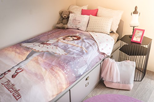 sahinler Parure di letto ragazza ballerina Parure di letto Ballerina cotone rosa chiaro 200x 100cm
