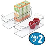 mDesign Refrigerator and Freezer Storage Organiser Bins for Kitchen - Pack of 2, 12.7 x 12.7 x 36.83 cm, Clear