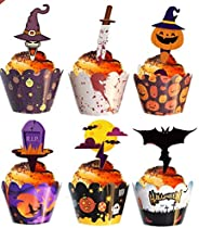 Halloween Cupcake decorations 48 pieces of Halloween cupcake decorations, suitable for Halloween party decorat