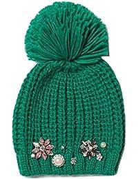 490cb844e48 River Island Ladies Green Jewel Embellished Bobble Hat