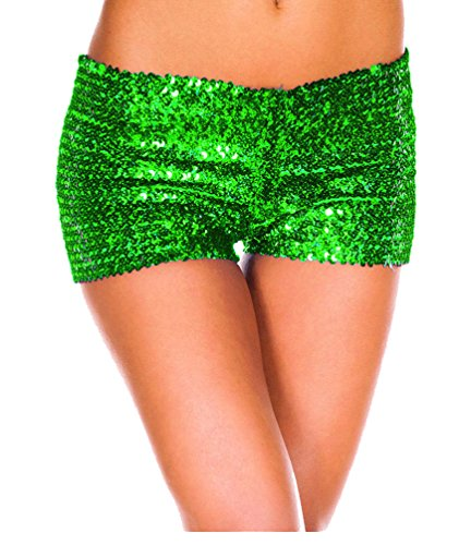 Tiny Time Damen Sequin Shine Glitter Shorts Paillette verschönert Party Kurze Hose (L, Grün)