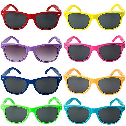 Comius Sharp 8 Set Neonfarben Sonnenbrille Lustige Party Sonnenbrillen Modische Party Lieferungen für Kind Sommer Pool Party, Geburtstag, Hochzeit, Party im Freien