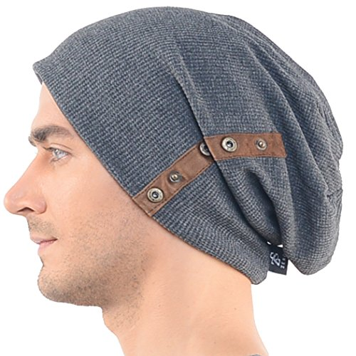 Zands 0702411021802 Chic Mens Slouchy Loose Beanie Cotton Skull Cap Winter  Hat B020 Dark- Price in India ebd3778b488
