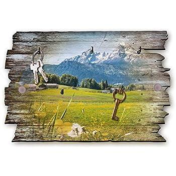 Kreative Feder Matterhorn See Berge Designer Schl/üsselbrett Hakenleiste Landhaus Style Shabby aus Holz 30x20cm HSB044