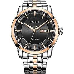 BUREI® Herren Armbanduhr Wasserdicht Uhr schwarzes mit goldes Zifferblatt Analog Edelstahl Uhr