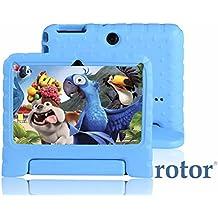 """Tablet infantil rotor® Android de 7"""" HD 8GB - cuádruple núcleo -   cubierta protegida ante golpes contra el asa + soporte   Apps KIDOZ modo infantil preinstalado - doble cámara - WiFi – compatible con Playstore, Youtube y Netflix - Color Azul"""