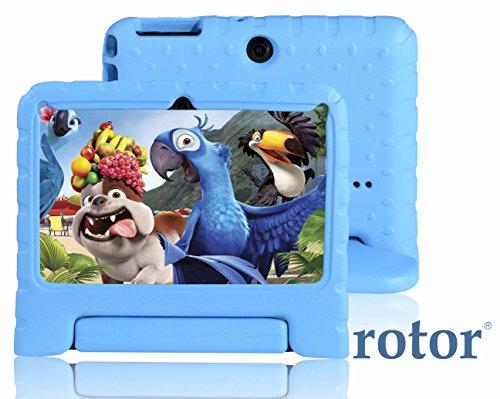 Tablet pueril rotor® Android de 7″ HD 8GB – cuádruple núcleo – | cubierta protegida en presencia de golpes contra el asa + soporte | Apps KIDOZ modo pueril preinstalado – doble cámara – WiFi – compatible con Playstore, Youtube y Netflix – Color Celeste