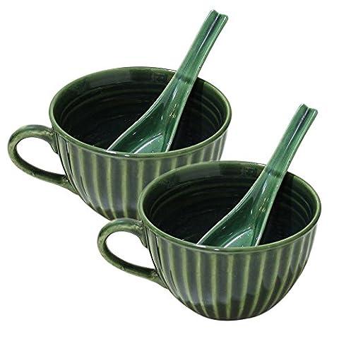 Store Indya, Handgefertigte Set von 2 Keramik Suppenschalen mit Griff für Abendessen Nudeln Getreide Salat Salsa Pasta Snacks mit Loffel Tasse Muslischalen Kuche Tabletop (Keramik Pasta Bowl)